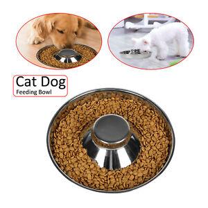 Feeder Bowl Stainless Dish Puppy Dog Cat Litter Food Feeding Weaning UK
