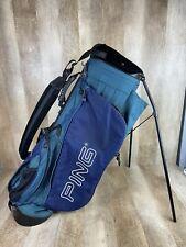 Ping Hoofer 3 Stand Golf Bag Blue Green Embroidered Logo Backpack Straps