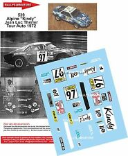 DECALS 1/16 REF 539 ALPINE RENAULT A110 THERIER TOUR AUTO 1972 RALLYE RALLY