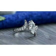 Engagement Ring 925 Sterling Silver Marquise White Diamond Unique Wedding