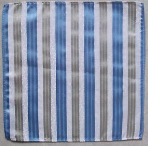 Handkerchief MENS Top Pocket Hankie BLUE SILVER FLORAL STRIPED 25cm X 25cm NEW