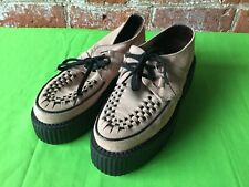 Schuh Pale Pink Black Suede Creepers Rockabilly Psychobilly Crepes Shoes Siz 6