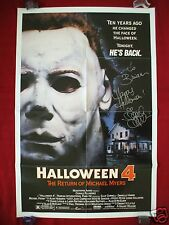 HALLOWEEN 4 *1988 ORIGINAL MOVIE POSTER *DANIELLE HARRIS AUTOGRAPHED* MYERS MASK