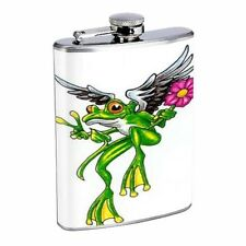 Frog Peace Angel Flower Tattoo Flask D173 8oz Stainless Peace Sign Wings Pink