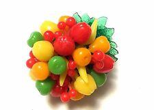 VINTAGE Large Fruit Salad Pin Brooch Signed Hong Kong COSTUME JEWELRY JVJ62