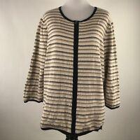 Ann Taylor Factory Women Beige Black Stripe Zip Up Sweater Cardigan sz XL