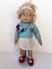 Rare Antique/Vintage French Gre-Poir (?) Lenci Style Cloth Doll