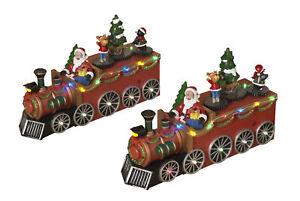 Holiday 2-Pc Large Light Up Christmas Train Winter Decoration Vehicle Scene Set