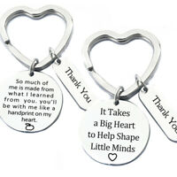 Keychain Ring Key Holder Stainless Steel Teachers' Day Thank You Festival Gif_ti