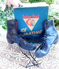 Vintage Still In Org Box Indian Head Men'S Black Leather Ice Skates