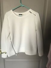 DEX Women's White Ribbed Zipper Detail Sweater Size XS NEW