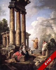 SAINT PAUL PREACHING IN RUINS OF ROME ITALY PAINTING ROMAN ART REAL CANVAS PRINT