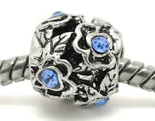 Blue Rhinestone March Birthstone Flower Spacer Charm for European Bead Bracelets