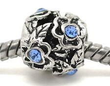 Blue Rhinestone March Birthstone Flower Spacer Bead for European Charm Bracelets