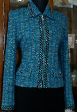 ST JOHN COLLECTION BLUE/TURQUOISE w MULTICOLORED JACKET SZ 4