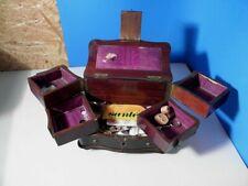 Tolle antike Schatulle für Schmuck oder Nähschatulle * mit Inhalt * 1880/1920 *