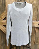 Vintage Silver Metallic Sz M Scoop Neck Long Sleeve Stretch Shirt Sweater