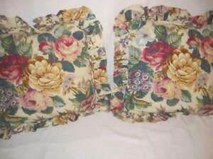 "Vintage Croscil Floral Ruffle Sham Set Two 20"" x 21"""