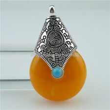 2PCS Alloy Antique Tibet Silver Vintage Orange Resin Buddhism Pendant Jewelry