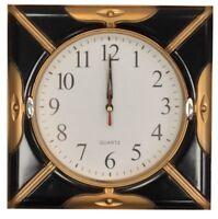 26cm Square Wall Clock Quartz Movement Black & Bronze