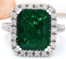 5.94 CARAT RUSSIAN EMERALD /& GENUINE DIAMOND 10KT SOLID WHITE GOLD RING SIZE 7