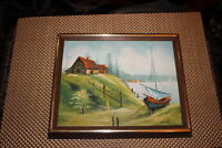 Vintage Nautical Oil Painting Home Hut Sailboat Fence Water-Signed Sardini