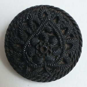 Button Antique - Glass Black - 22 MM - Victorian Black Glass Button