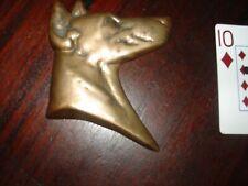 Vintage Doberman Pincher Bronze Part Figural Dog Head Paperweight