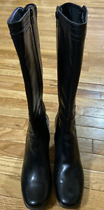Clarks Bendables Womens Black Leather Tall Riding Boots Size 9 M