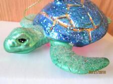 BEAUTIFUL BLUE & GREEN GLITTER GLASS TURTLE CHRISTMAS ORNAMENT