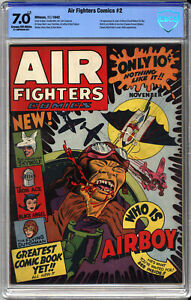 AIR FIGHTERS COMICS #2 - CBCS 7.0 - Looks 8.5+ 1st AIRBOY, TORTURE, DECAPITATION