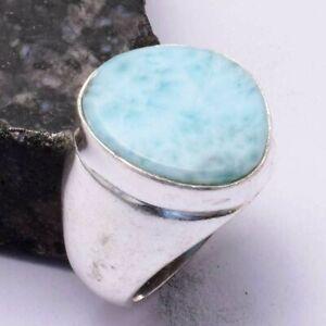 Larimar Ethnic Handmade Men's Ring Jewelry US Size-8 AR 44098
