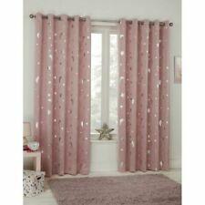 Dreamscene Galaxy Thermal Blackout Curtains 117 x 137cm - Pink Blush Moon Stars