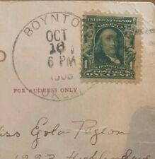Benjamin Franklin RARE ONE(1) Cent Stamp (ANTIQUE 1907-9) On Actual Postcard