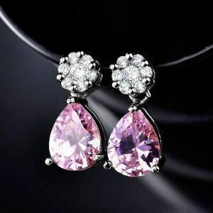 New White Gold Filled Pink & White Round & Teardrop CZ Post Stud Dangle Earrings