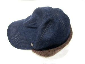 The GAP Blue Wool Blend Cap Hat Size M/L Ear Flaps Fitted Brown Warm New Navy