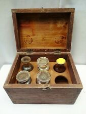 Antique Apothecary Box Wooden 5 Glass Stopped Medicine Bottles Drug Chest Old""