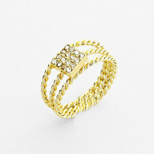 Gold Crystal Cube Knuckle Ring