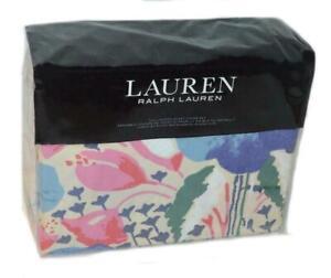 RALPH LAUREN Sophie Watercolor Floral 3P FULL/ QUEEN DUVET SET Pink Blue Beige