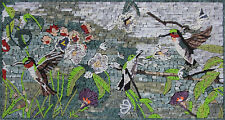 "Birds Floral Tile Art 30""x16"" Mosaic Home Decoration AN1881"