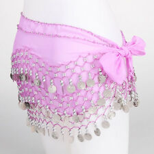 Belly Dance Dancing Hip Skirt Scarf Wrap Belt costume with 3 Rows Silver Coins
