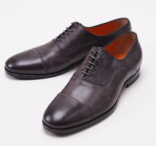 NIB $695 SANTONI Charcoal Gray-Brown Calf Leather Captoe Oxford US 9 D Shoes