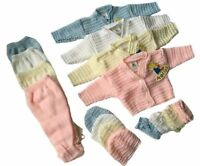 BABIES BOY GIRL KNITTED PRAM SUIT 4 PIECE GIFT SET CARDIGAN KNITWEAR JUMPER NEW