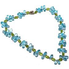 "Blue Topaz, Peridot Beaded Gemstone 925 Sterling Silver Necklace 18"" SN-5"