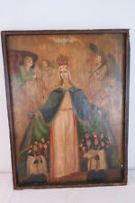 altes Heiligenbild, Ölgemälde Votivbild, Schutzmantel Madonna, Muttergottes 74cm