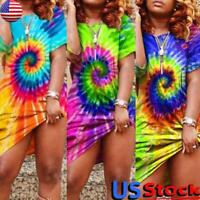 US Women Tie-Dye Short Sleeve Mini Dress Summer Casual Loose Party T-Shirt Tops