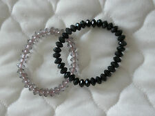 2 Glass/Crystal Effect Elasticated Bracelets, 1 Crystal 1 Black. In Top Cond.