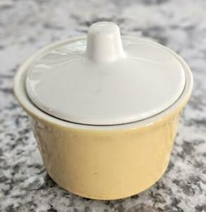 Vintage Yellow Sugar Bowl w/ Lid, Mid-Century Retro