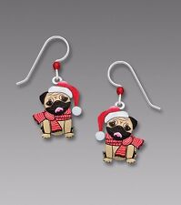 Sienna Sky Christmas PUG DOG EARRINGS Sterling Silver Earwires Dangle - Gift Box