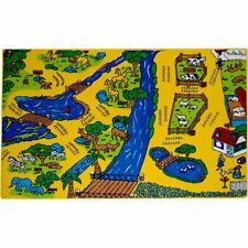 Zoo Kids Area Carpet Rug 5' x 7' Children Animals Non Skid Gel Backing